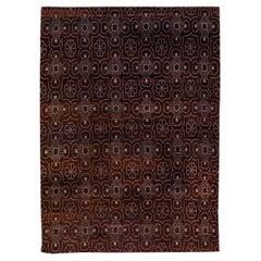 Modern Tibetan Arabesque Style Handmade Burgundy Wool and Silk Rug