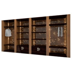 Wardrobes Structure Metal Solid Wood Decorative Handles Led Light Customizable