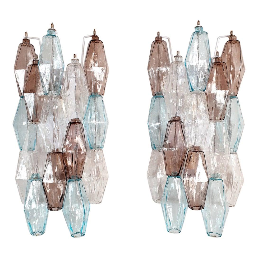 Blue Colored Poliedri Murano Glass sconces, Mid-Century Modern Venini Italy 1970