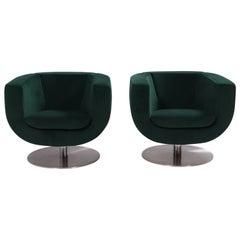 B&B Italia Green Velvet Tulip Armchairs by Jeffrey Bernett, Set of 2