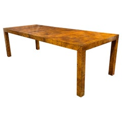 Milo Baughman Style Burlwood Parsons Dining Table with Two Leaves