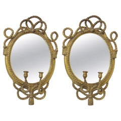 Pair of 19th Century English Maritime Gilt Carved Wood Mirrored Wall Sconces