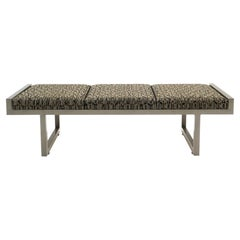 Upholstered Bench in Like New Condition. Heavy Steel Frame in Gray / Taupe