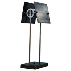 Late 20th Century Brutalist Aged Brass & Stainless Steel MW1 Lamp