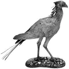 Sterling Silver Model Secretary Bird African Bird 1988 Tim Nicklin