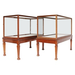 Two Antique Glazed Museum Display Cabinets