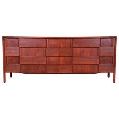 Edmond Spence Swedish Modern Sculpted Walnut Dresser or Credenza, Refinished
