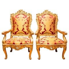 Italian Rococo Giltwood Throne Chairs
