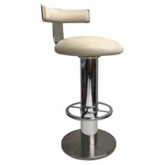 Polish Aluminum and Leather Swivel Barstool by Design For Leisure