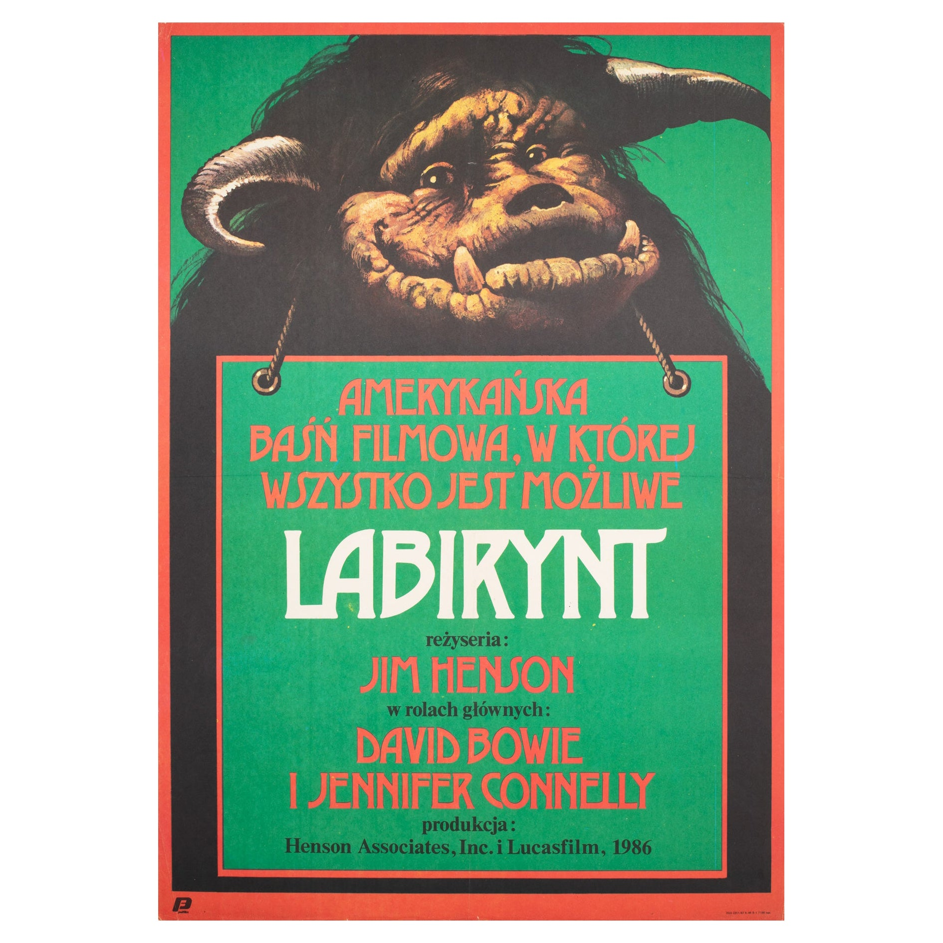 Labyrinth 1987 Polish B1 Film Movie Poster, Walkuski