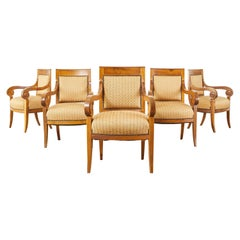 Set of Six French Empire Walnut Dining Armchairs