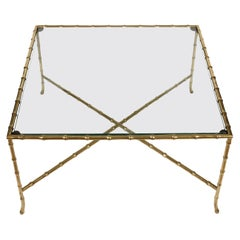 Bagues Style Brass Bamboo and Glass Coffee Table