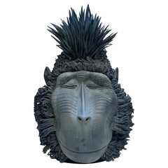 Black Orangutan, Ceramic Centerpiece, Handmade Design in Italy, 2021
