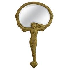 Art Nouveau Bronze Hand Mirror by M Jampolsky c1900 Belle Epoque