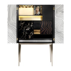 21st Century Majord'home Bar Cabinet, Maple and Ebony Inlays, Made in Italy