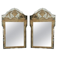 Vintage French Art Deco Eglomise Regency Mirrors, a Pair