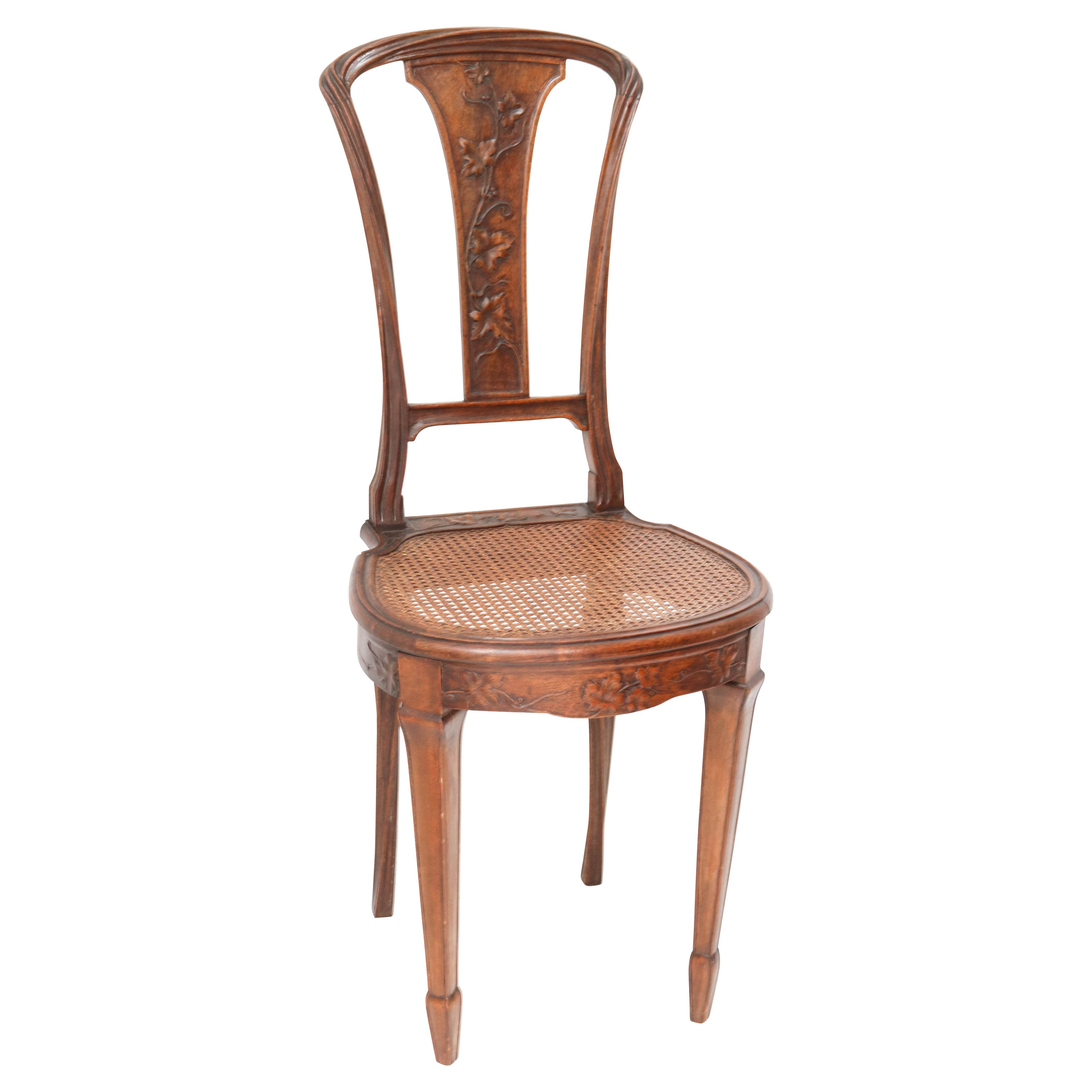 French Walnut Art Nouveau Side Chair Attributed to Louis Majorelle, 1900s