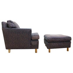 Edward Wormley Faceted Lounge Chair with Ottoman for Dunbar