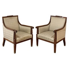 Pair Antique French Louis XVI Walnut Armchairs, Bergeres