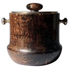Vintage Aldo Tura Ice Bucket wrapped in Goatskin