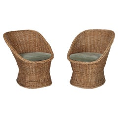 Woven Rattan Wicker Barrel Chairs with Vintage Mohair Seat Cushions