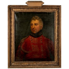 Early 19th C. Oil on Canvas, Portrait of a British Officer in a Red Uniform