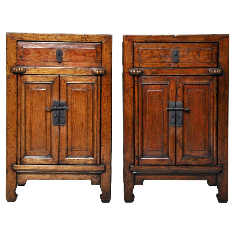 Pair of Chinese Side Cabinets with Two Drawers and a Pair of Doors For Sale
