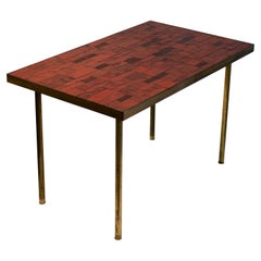 Midcentury Mosaic Side Table in Warm Red Tones by Müller, Germany, 'Signed'