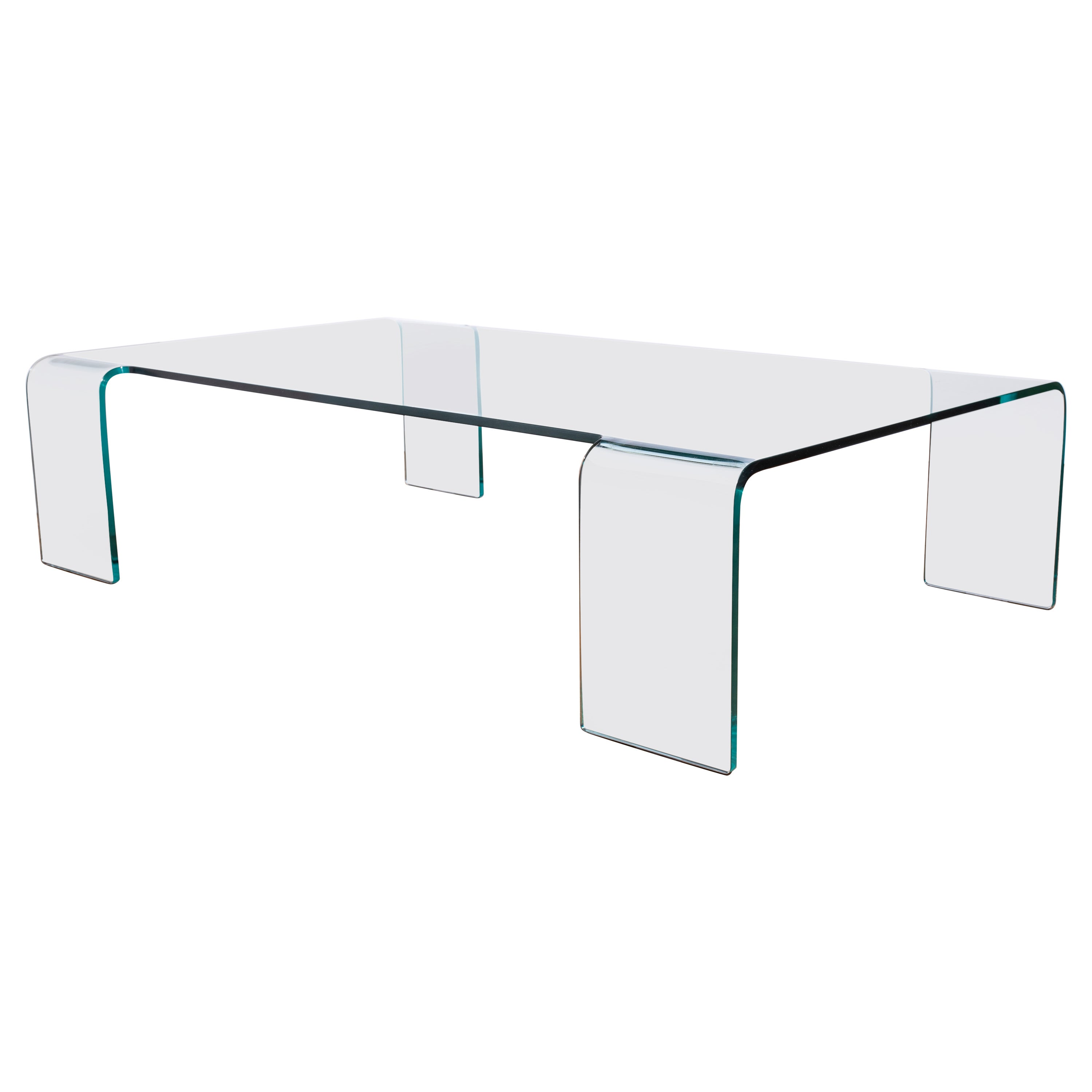 Modern Glass Waterfall Cocktail Table