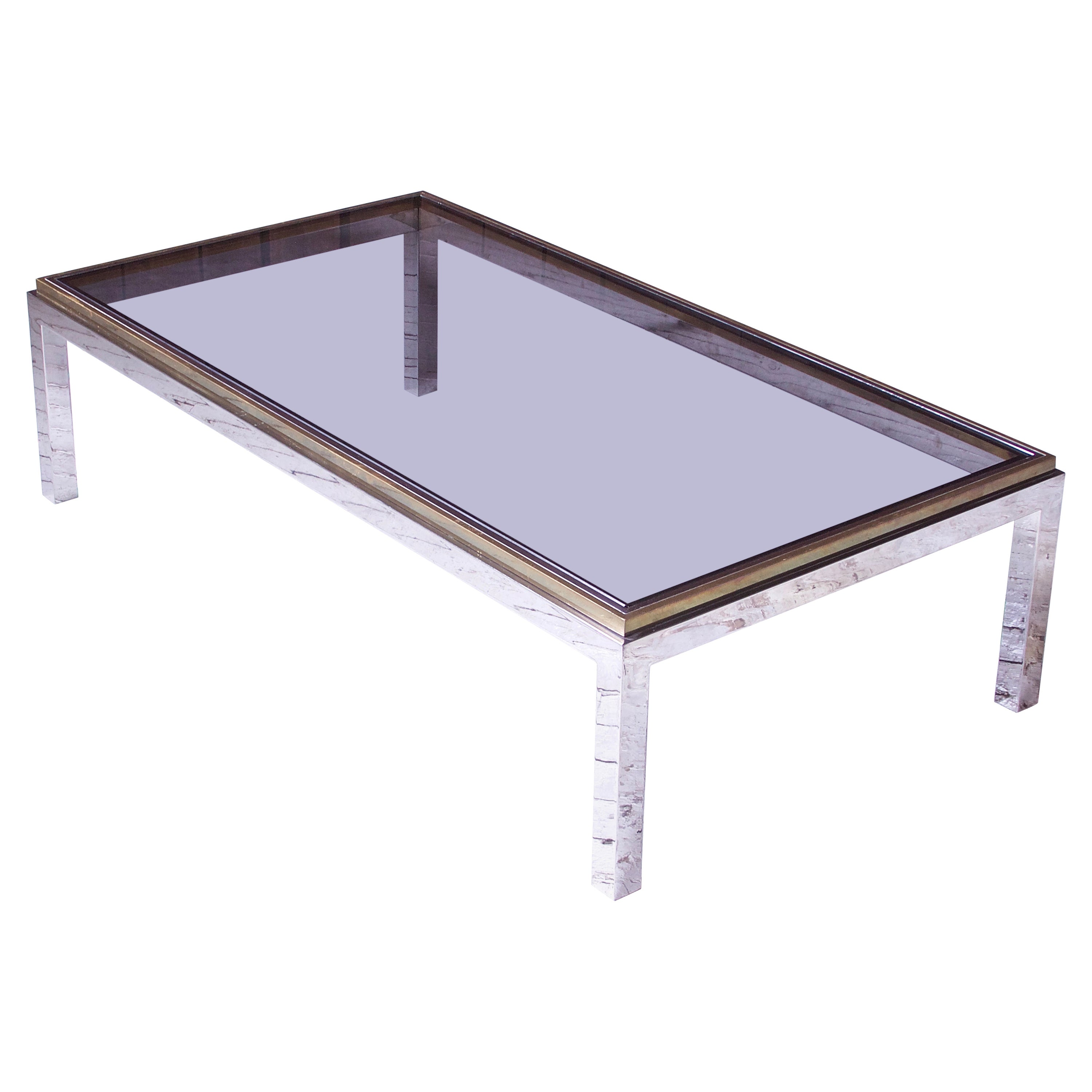 Vintage 'Flaminia' Willy Rizzo Brass & Chrome Coffee Table, 1970s