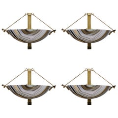 Set of Four Modern Italian Murano Glass Calcedonio and Brass Sconces, 1980s