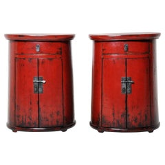 Pair of Red Lacquered Drum-Shaped Bedside Chests