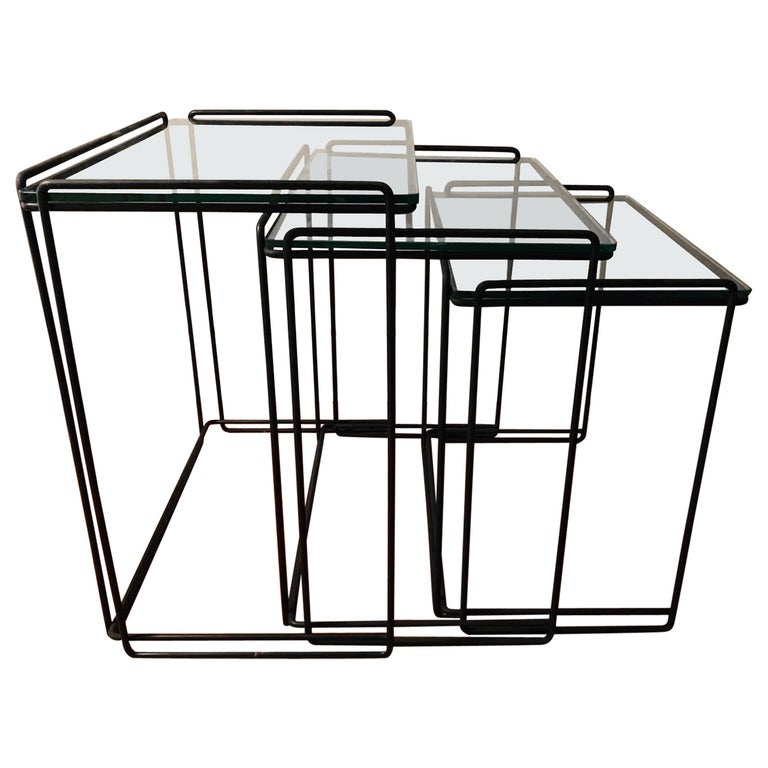 """Postmodern """"Isocele"""" Sculptural Iron Nesting Tables by Max Sauze for Attrow"""
