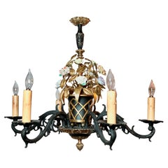 """Antique French """"Marie Antoinette"""" Iron & Brass Chandelier with Porcelain Flowers"""