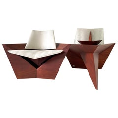 Modern Solid Wood Lounge Chairs by Pierre Sarkis