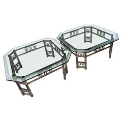 Pair of Aged Brass and Beveled Glass Cocktail Tables by Mastercraft