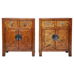 Pair of Burlwood Bedside Chests