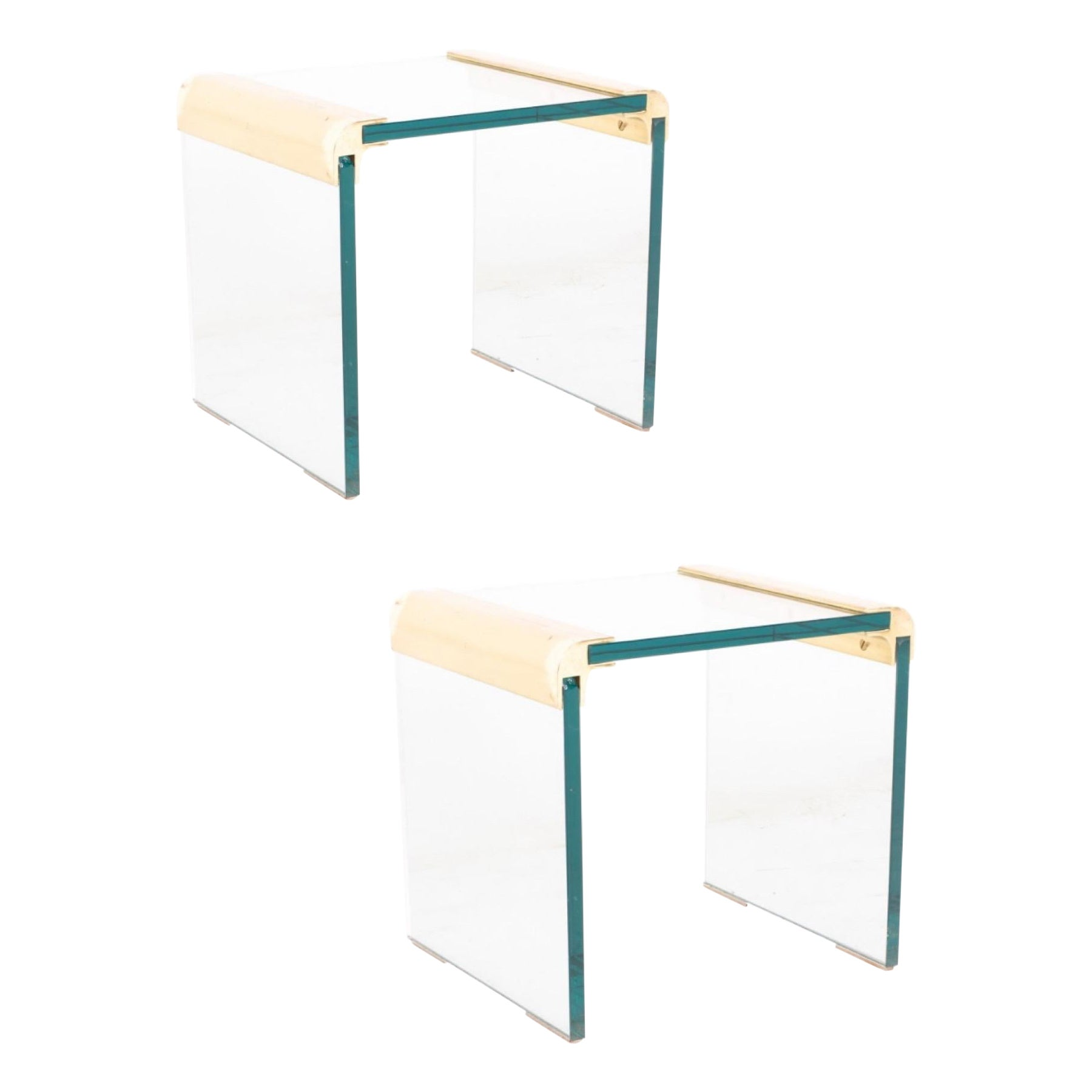 Modern Brass & Glass Waterfall End Tables by Leon Rosen for Pace Collection