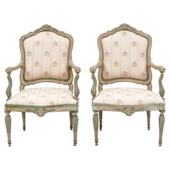 Pair of 18th Century Italian Carved and Painted Neoclassical Armchairs