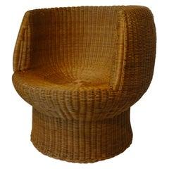 Mid Century Woven Wicker Chair in the Style of Eero Aarnio