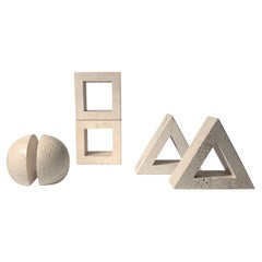 Vintage Abstract Fratelli Mannelli Travertine Bookends Collection for Raymor