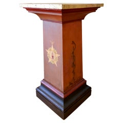 19th Century Odd Fellows Lodge Decorated Pedestal Stand