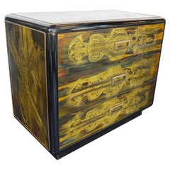 Small Commode Acid Etched, Brass Chest of Drawers, Bernhard Rohne, Mastercraft