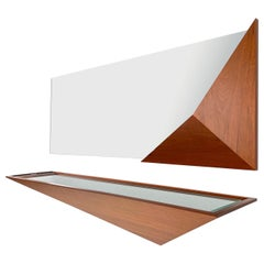 Modern Solid Wood and Glass Entry Mirror Station by Pierre Sarkis