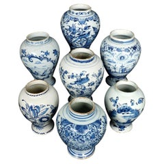 Seven 18th Century Dutch Delft Jars