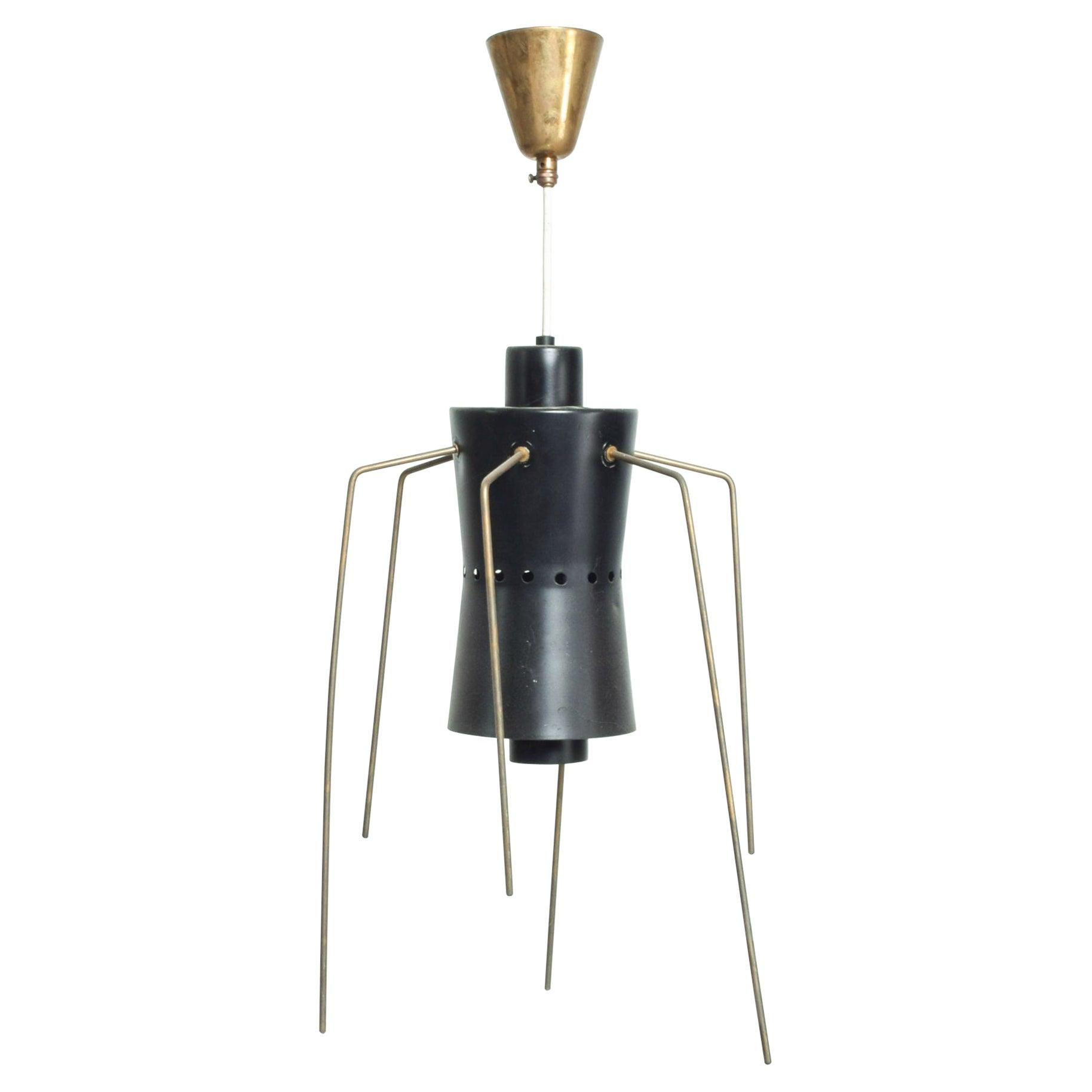 Black Spider Brass Legs Chandelier Pendant Light from Italy 1950s Stilnovo