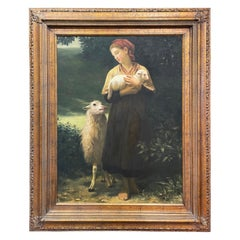 """Mid-Century French Oil on Canvas Painting """"The Newborn Lamb"""" in Carved Frame"""