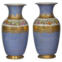 Pair of Large Paris Porcelain Vases, circa 1840