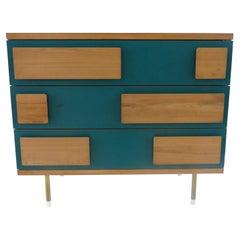 Gio Ponti Three Drawers Green Cabinet from Hotel Parco dei Principi, Rome, 1964