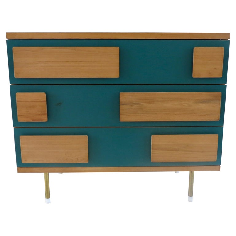 Gio Ponti Three Drawers Green Cabinet from Hotel Parco dei Principi, Rome, 1964 For Sale